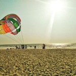 majorda goa beach nature parasailing watersports sunset