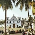 agonda india goa beach trees church